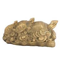 Статуэтка Черепаха 3 поколения 5х10,5х5 см желтая (1097)