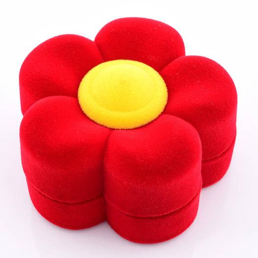 Футляр цветок красный 54035 для колец-серег, размер 4*6 см.
