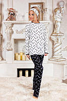 Женская черно белая пижама в бантики трикотаж  двухнитка  размеры 42-44 44-46 46-48