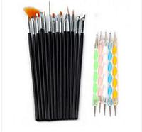 Набор кистей для росписи дизайна  15 шт, черные+ набор дотсов, фото 1