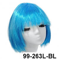 Парик Каре голубой из искусственных волос.