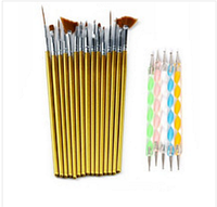Набор кистей для росписи дизайна  15 шт  золото + набор дотсов