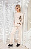 Женский спортивный костюм трикотаж двухнитка отделка - пайетка размеры: 42, 44, 46