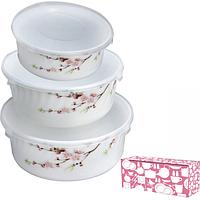 Набор салатников с крышкой 3шт (7,5 6,5 5,5) Японская вишня 30053-61122