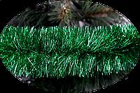 Новорічна мішура 75 мм. Зелений металік 2 метри