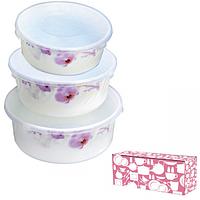Набор салатников с крышкой 3шт (7.5 6.5 5.5) Розовая орхидея 30053-61099