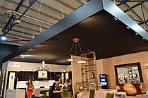 Натяжные потолки эконом вариант из ткани для выставки и конференций. Максимальная длинна и ширина 18х15м.