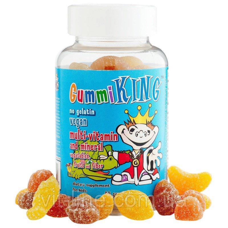 Gummi King, Мультивитаминно-мінеральна добавка, з овочами, фруктами і волокнами, для дітей, 60 тягну