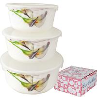 Набор салатников с крышкой 3шт (7,5 ', 6,5', 5,5 ') Каллы  30053-1069