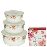 Набор салатников с крышкой 3шт (7,5', 6,5' , 5,5' ) 'Орхидея' 30053-001