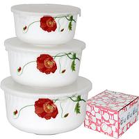 Набор салатников с крышкой 3шт (7,5 ', 6,5', 5,5 ') Красный мак 30053-1067