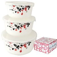 Набор салатников с крышкой 3шт (7,5 ', 6,5', 5,5 ') Красное и черное 30053-1066