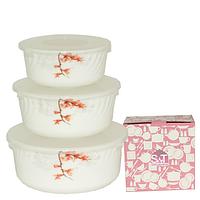 Набор салатников с крышкой 3шт (7,5', 6,5' , 5,5' ) 'Айва оранж' 30053-16003