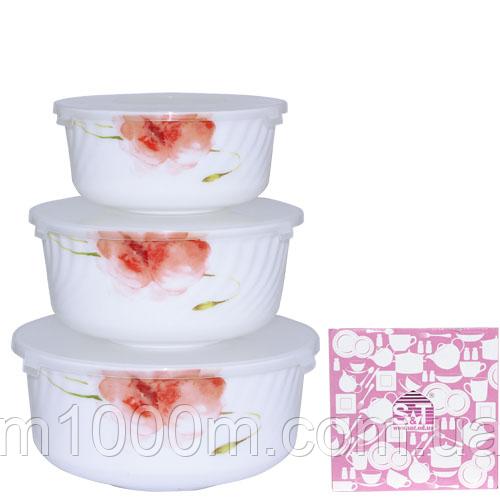 Набор салатников с крышкой 3шт (7,5', 6,5' , 5,5' ) 'Цветочная акварель'  30053-16005