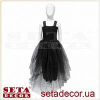 Детское длинное черное платье с пышной юбкой
