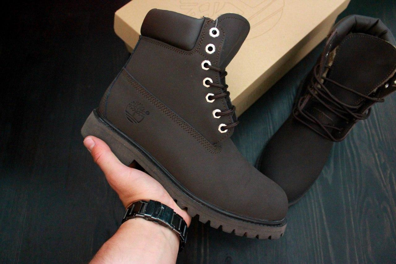 Зимние женские ботинки Timberland темно-коричневые, натуральный мех