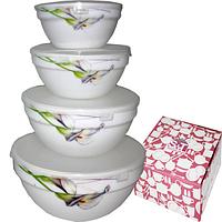 Набор салатников с крышкой 4шт (7, 6, 5, 4.2) Каллы 30054-1069