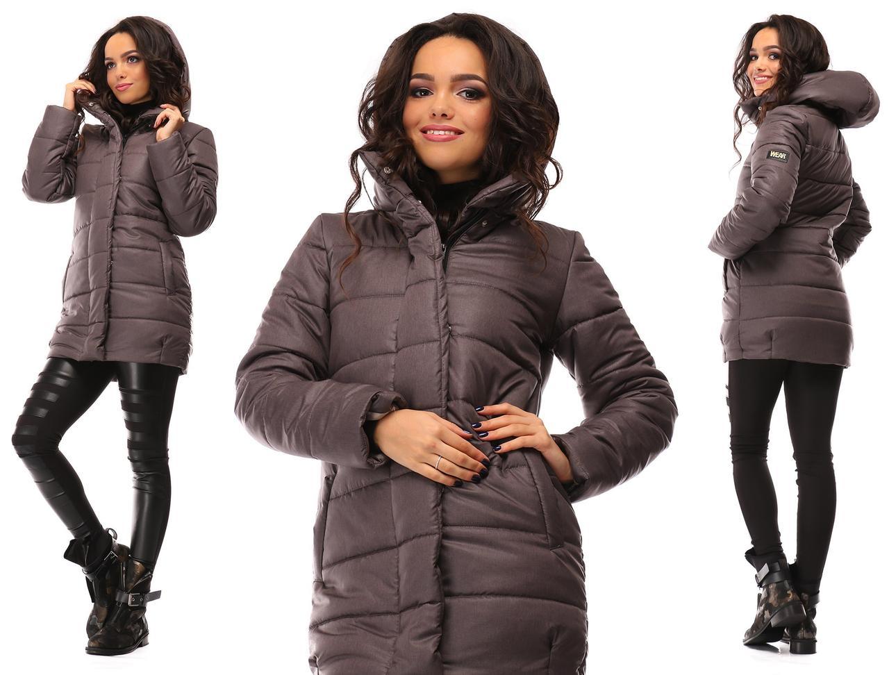 Куртка женская зимняя с капюшоном на синтепоне  Коричневый, 44