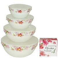 Набор емкостей для хранения продуктов с крышкой 4шт (7', 6' , 5' , 4,2' ) 'Орхидея' 30054-001