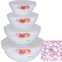 Набор емкостей для хранения продуктов с крышкой 4шт (7', 6' , 5' , 4,2' ) 'Цветочная акварель' 30054-16005