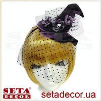 """Колпак """"Ведьмочка"""" на обруче черный с фиолетовыми розами и вуалью на Хэллоуин"""