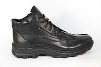 Зимние мужские ботинки, полуботинки черные натуральная кожа DF POLO