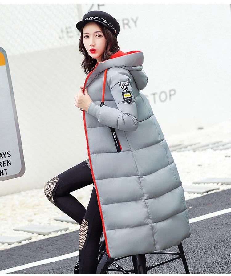 Куртка женская длинная с капюшоном оранжевая молния Серая Размер М -208-052