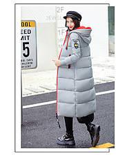 Куртка женская длинная с капюшоном оранжевая молния Серая Размер М -208-052, фото 2