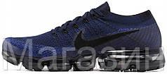 Мужские спортивные кроссовки Nike Air Vapormax Flyknit Navy/Black Найк Вапор Макс синие