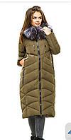 Пальто пуховик премиум качество хаки