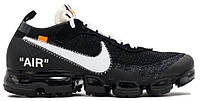 Мужские кроссовки OFF WHITE x Nike Air VaporMax Black (Найк Вапор Макс) черные