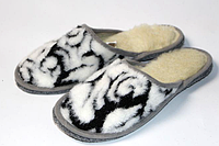 Комнатные женские тапочки из овечьей шерсти абстракция