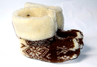 Чуні з овечої вовни бежево-коричневого кольору
