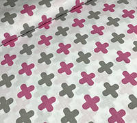 Хлопковая ткань плюсики малиново-серые