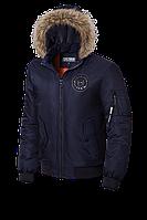 Мужская темно-синяя демисезонная куртка с мехом KIRO TOKAO  (р. 48-54) арт. 9981 F