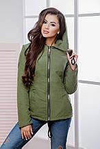 Куртка-парка короткая женская с капюшоном на молнии