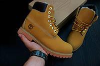 Зимние мужские ботинки Timberland коричневые, натуральный мех