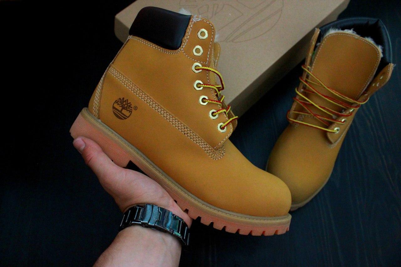 8178e97ee Зимние мужские ботинки Timberland коричневые, натуральный мех ...