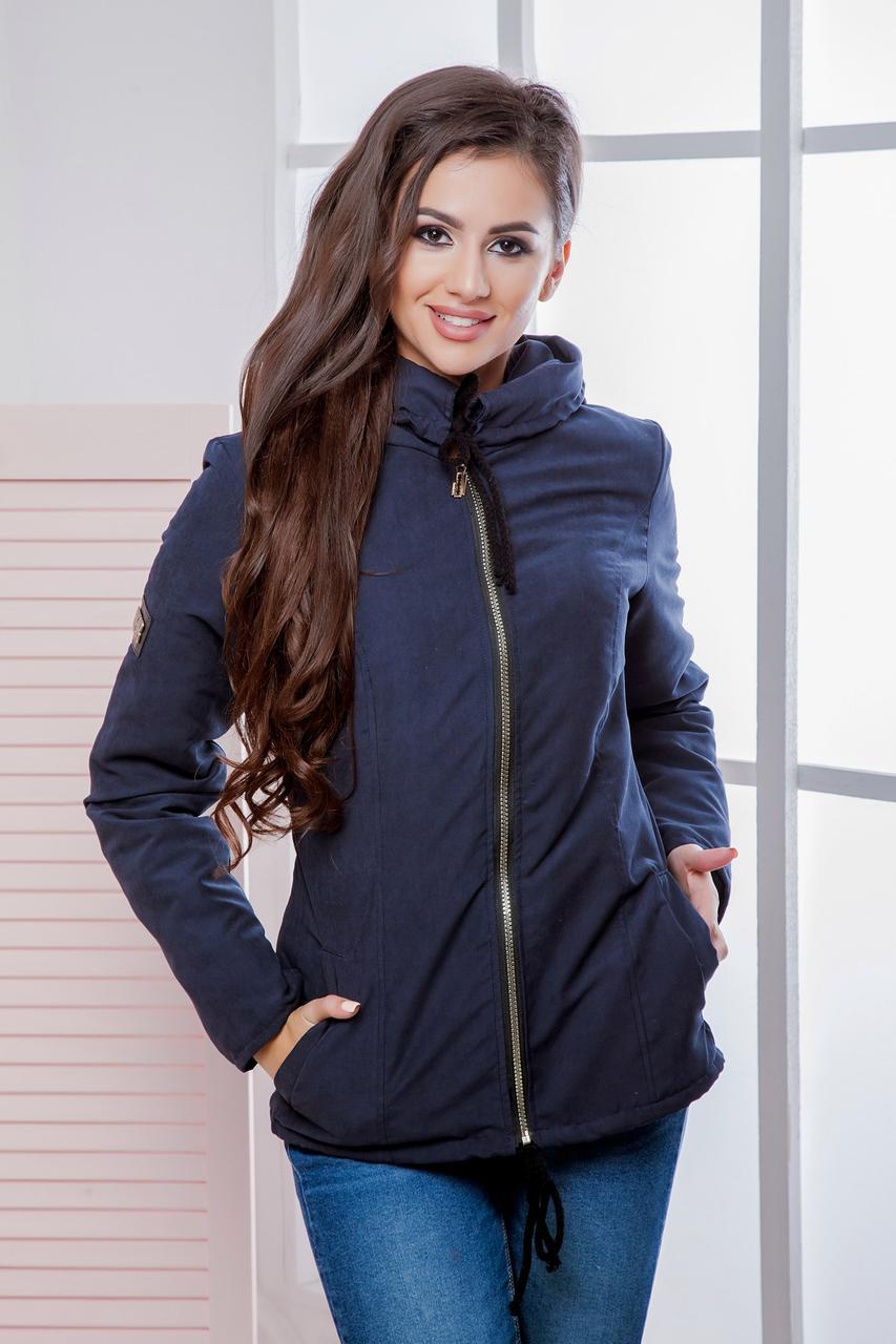 Куртка-парка короткая женская с капюшоном на молнии Темно-синий, 44