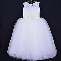 """Нарядное детское платье """"Букет"""". 6-7 лет. Молочное. Оптом и в розницу"""