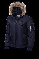 Темно-синяя демисезонная куртка с мехом KIRO TOKAO  (р. 48-54) арт. 9991S