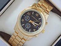 Кварцевые наручные часы Michael Kors золотые с черным циферблатом