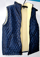 Жіноча безрукавка з овечої вовни - синя на блискавці