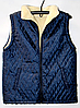 Тепла чоловіча жилетка з овчини синя