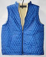 Теплая мужская безрукавка синего цвета из овечьей шерсти
