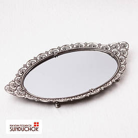 Металлический поднос с зеркалом бриллиантовый вечер (37*23 см) 019MA