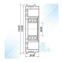 Шкив компрессора, DENSO 10PA17C, 4PK (PV4), 110,00/115,00 мм, IVECO