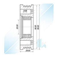 Шкив компрессора, MITSUBISHI QS90, 5PK (PV5), 95,00/99,00 мм, Mitsubishi
