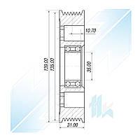 Шкив компрессора, CALSONIC KANSEI CR14, 7PK (PV7), 135,00/139,00 мм, Nissan