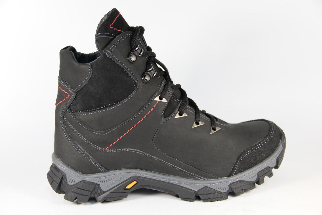 Зимние мужские ботинки, полуботинки черные натуральная кожа DF52